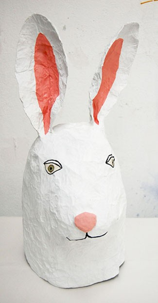 paper mache mask by ELSA DRAY-FARGES
