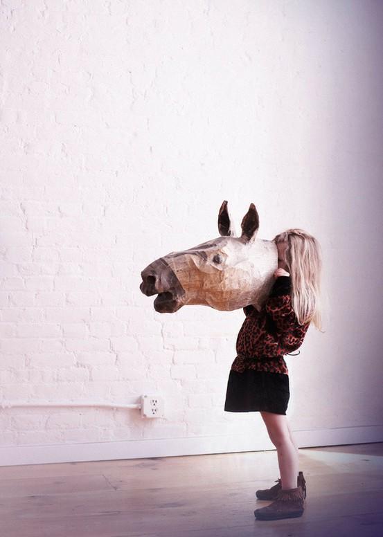 Horse paper mache mask