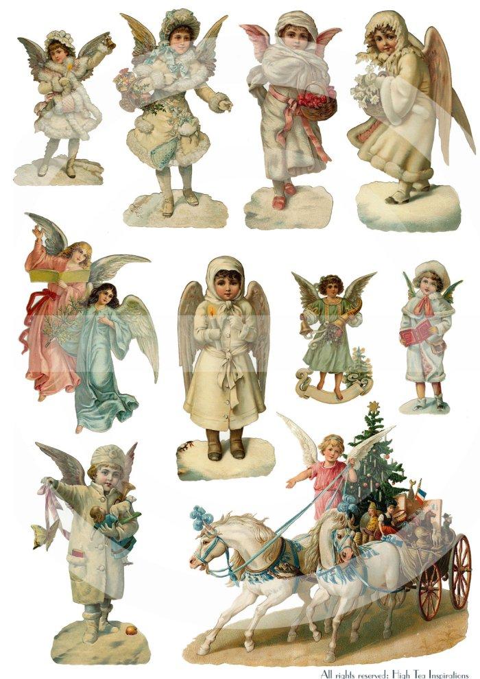 Vintage die cut Christmas angels, printable download available via ...