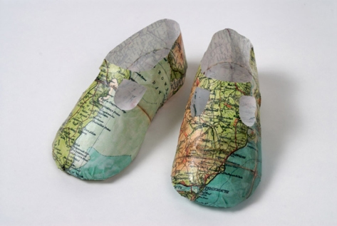 Map Baby Shoes by Jennifer Collier