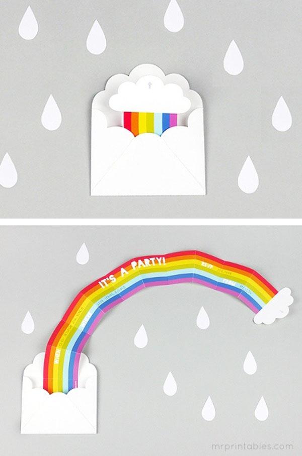 Rainbow surprise party invitation