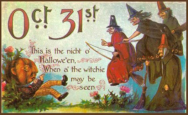Happy Halloween vintage postcard