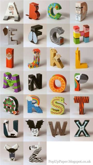 Free Pop up paper alphabet for kids