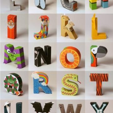 Free Pop up paper alphabet for kids