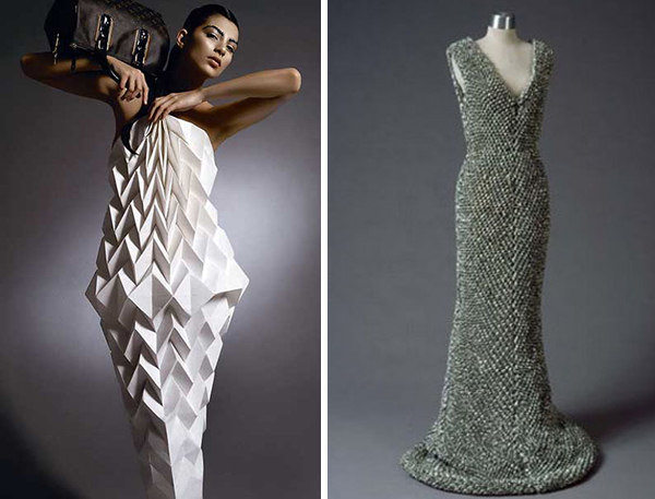 Paper dress (by Diana Gamboa) and dollar bill dress
