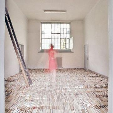Thomas Ehgartner art installation book floor