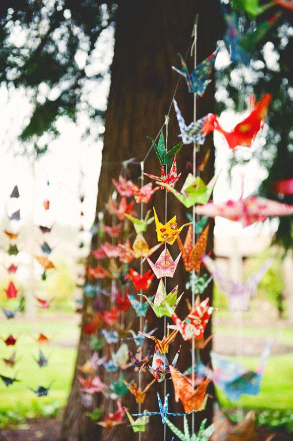 Paper cranes garland