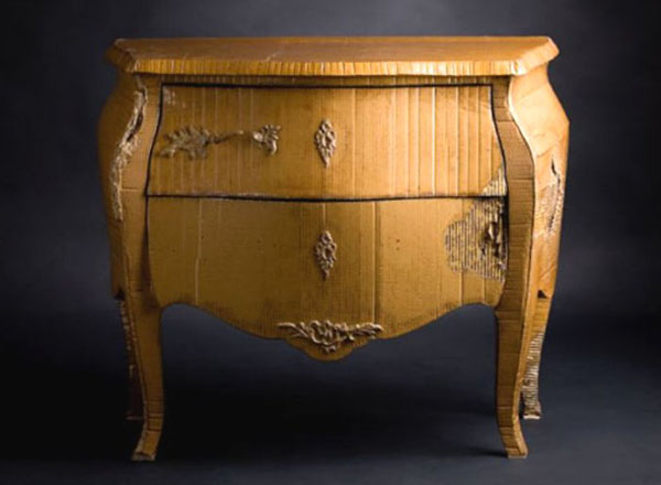 cardboard Louis XV commode by Emilie Mazeau-Langlais