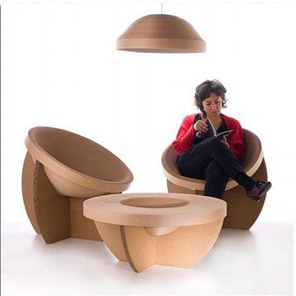 Cardboard seating area